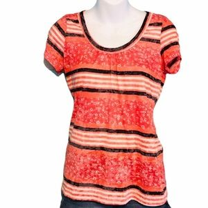 Maurices Scoop Neck Stripe and Floral Top